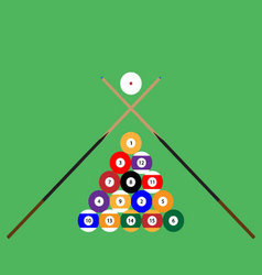 Snooker ball set of objects cue vector