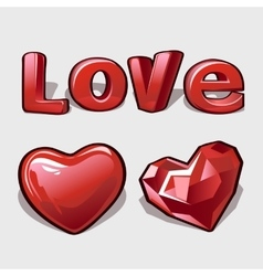 Heart ruby and word love romantic collection vector