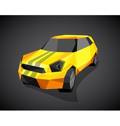 Yellow sport car on grey background - polygonal vector