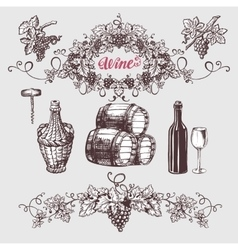 Wine and winemaking vintage set vector