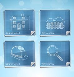 Blueprint Icons Set vector image