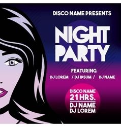 Advertising with girl icon night party and disco vector