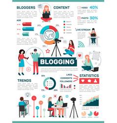 Blogging media activity infographics vector