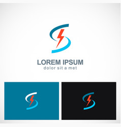 bolt letter s power technology logo vector image