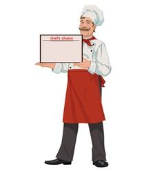 Chef presents a menu vector image vector image