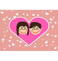 Couple in love together with hearts vector