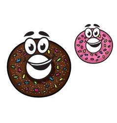 Cute happy doughnuts vector