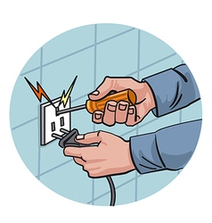 Dangerous work with electricity vector