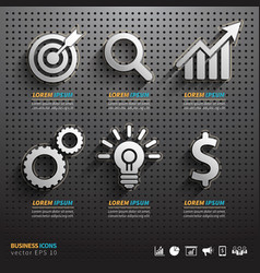 Dark pegboard background with business Tools vector image vector image