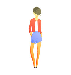 Girl in blue shirts and red jacket with cool short vector