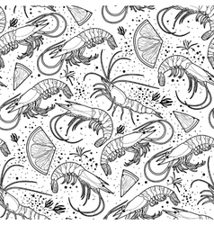 Graphic shrimps pattern vector