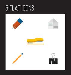 icon flat equipment set of pushpin stapler vector image vector image