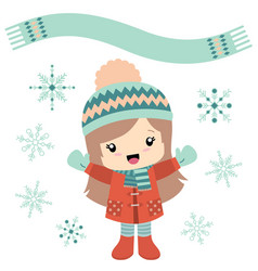 little girl in wintertime with snowflakes vector image vector image