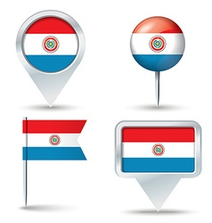 Map pins with flag of Paraguay vector image vector image
