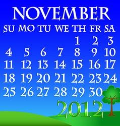 November 2012 landscape calendar vector