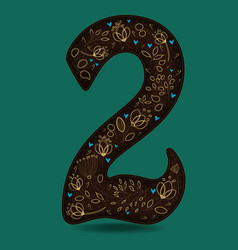 number two with royal golden floral decor vector image