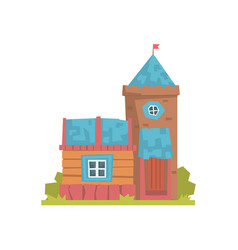 Old wooden house and stone tower ancient vector