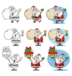 Santa Claus Cartoon Characters-Collection vector image vector image