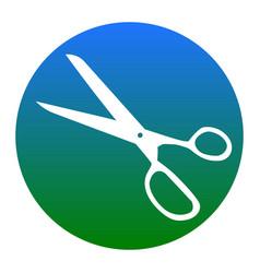 Scissors sign white icon in vector