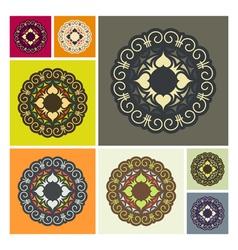 Set of Ethnic Circle Elements Mandala Round Orname vector image