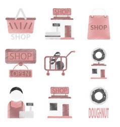 set of flat icons in shading style shop vector image