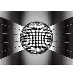 Silver disco ball on metallic 3d environment vector