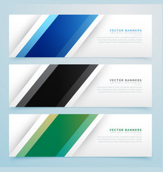 simple three color banner headers set vector image vector image