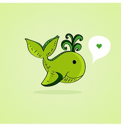 Sketch style Green whale vector image vector image