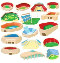 Sport stadium set cartoon style vector image vector image