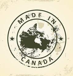 Stamp with map of canada vector
