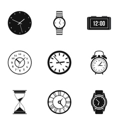 Time dimension icons set simple style vector