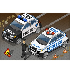 Two Isometric Police Car in Front View vector image vector image