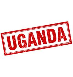 Uganda red square grunge stamp on white vector