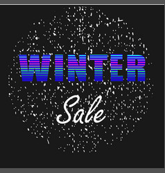 Winter sale neon letters on black background vector