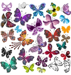 Big collection silhouette colorful butterflies vector