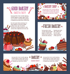 Templates for bakery shop cakes dessers vector