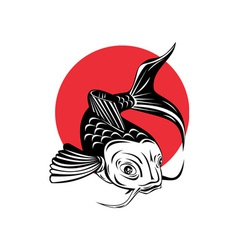 Koi carp fish jumping vector