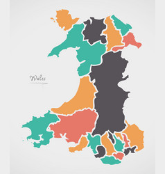 Wales map with states and modern round shapes vector