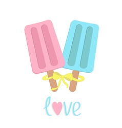 Ice cream with bow on sticks love card vector