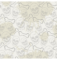 Seamless skull pattern with bone and blots vector
