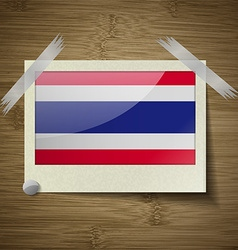 Flags thailand at frame on wooden texture vector