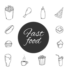 Fast food sketch design icon set vector
