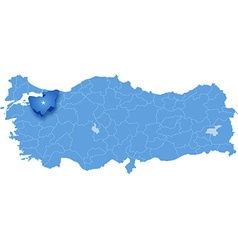 Map of turkey bursa vector