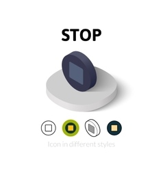 Stop icon in different style vector