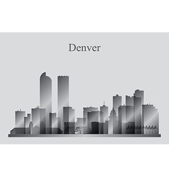 Denver city skyline silhouette in grayscale vector