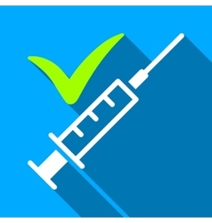 Done vaccination flat long shadow square icon vector