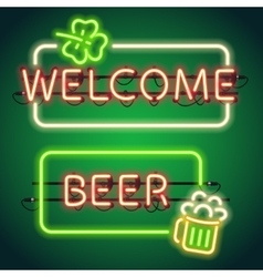 St patricks day neon frames vector