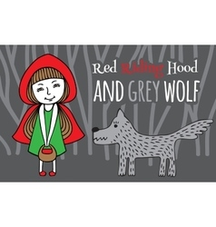 Red riding hood and grey wolf vector