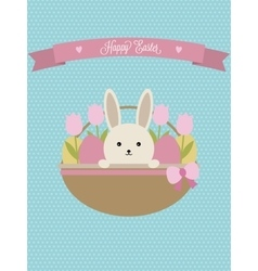 Easter card easter basket with rabbit vector