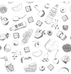 Hand drawn food seamless pattern vector image